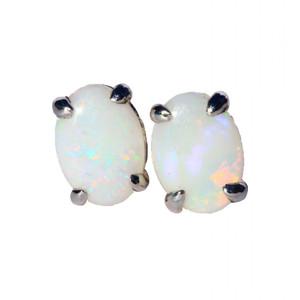 BRIGHT WHITE STERLING SILVER NATURAL WHITE AUSTRALIAN OPAL EARRINGS