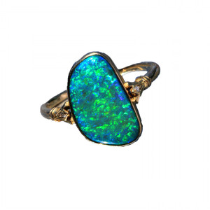 BLUE GREEN DREAM 9KT GOLD &DIAMOND NATURAL AUSTRALIAN OPAL RING