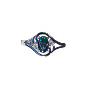 AMOUR BLEU STERLING SILVER AUSTRALIAN OPAL RING