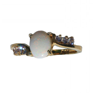 BLANCHE NEIGE 18KT GOLD PLATED AUSTRALIAN OPAL RING