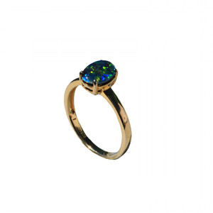 BRIGHT RING 18KT GOLD PLATED AUSTRALIAN OPAL RING