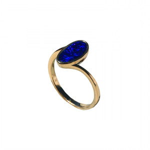 BLUE OCEAN 18KT GOLD PLATED AUSTRALIAN OPAL RING