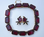 RARE HATTIE CARNEGIE HUGE RED STONES NECKLACE EARRINGS STATEMENT SET