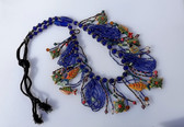 SPECTACULAR VINTAGE BOHO BEADED NECKLACE LONG HAND PAINTED FISH TURTLES