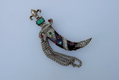 1940's Murray Slater Jeweled Enameled Sword Scabbard Chatelaine pin Sterling