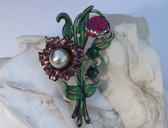 Vintage Rare Enamel Flower Spray Pin Pomerantz Resurrected Summer Spring Brooch