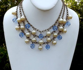 Early MIRIAM HASKELL Necklace Pearls Blue Crystal Beads Ornate Clasp 3 Strand