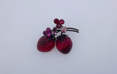 Vintage Austria Strawberry Fruit Pin 2 Glass Berries Red Pink Rhinestones
