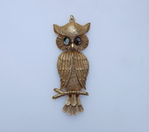 "Vintage Huge 6"" Long Owl Articulated Pendant Glass Cab Eyes Rich Gold Plating"