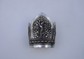 Vintage Siam Dancing Angels Wide Silver Cuff Bracelet Repousse Metal Crown Shape