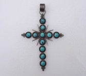 "Huge 5"" Tall Native American Turquoise & Sterling Silver Cross Pendant"