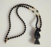 Vintage MIRIAM HASKELL Jade Necklace Chess Knight Pendant Green Jade Beads