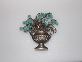 Vintage Basket Pin, Dangling Molded Glass Lily of The Valley Flower Beads Rare