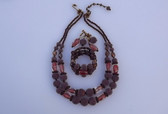 DeMario Art Glass Beads Necklace Bracelet Ers Set Coralene AB Garnet Venetian