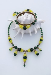 Miriam Haskell Yellow Vaseline Glass Necklace Bracelet Set Bell Shaped Beads
