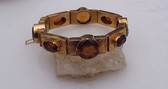 Vintage Renaissance TUDOR Revival Bracelet Brown Topaz Gemstones Gold Plated