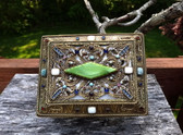 Rare Jeweled Ormolu Box Austria Ornate With Big Diamond Shaped Jade Glass Stone