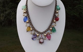 Early Miriam Haskell Poured Glass Beads Bookchain Fringe Necklace Moriage