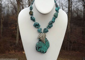 Huge Slab TURQUOISE COLORED  HOWLITE STATEMENT Pendant  NECKLACE~Vtg Rhinestones