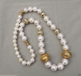 Vtg Couture LONG GLASS PEARL Beads NECKLACE HUGE GOLD tone BEADS BIG PEARLS QQ