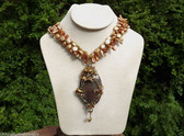 BIG HAUTE COUTURE HAND WIRED GEMSTONE  and PEARLS PENDANT~AUSTRIAN CRYSTAL BEADS