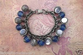 RARE 1950'S SELRO CHARM BRACELET SATIN GLASS BAUBLES BLUE FACETED LUCITE BEADS