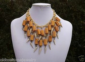 RARE DECO ERA MIRIAM HASKELL BAKELITE BEADS FRINGE NECKLACE~CELLULOID CHAIN~QQ