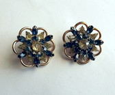 Kramer of NY Rhinestone Earrings Sapphire Blue And Jonquil Yellow
