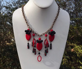 Spectacular Vtg CZECH Glass & Brass FRINGE Necklace RED & BLACK BEADS
