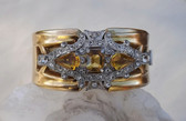 McCLELLAND BARCLAY Deco YellowTopaz GLASS & Rhinestones HINGED Bangle Bracelet
