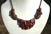 Vtg Wide RED CZECH Necklace~ORNATE METAL Work~Pot Metal & BRASS ~3 Panel Design