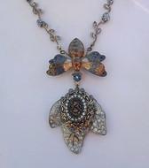 ELLEN ORIGINAL Art Deco Necklace~Enamel MOTH Carrying Rhinestone JEWELED LEAF