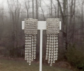 1956 Vtg STATEMENT Dangle Rhinestone Earrings~100's of Rhinestones~Deco Revival