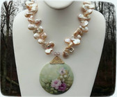 GORGEOUS Vintage Artist Signed Hand Painted Porcelain & Baroque Pearls Necklace~