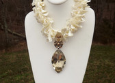 CHUNKY Runway COUTURE Sea Shell NECKLACE~Wild CURLY MOP BEADS~HUGE CRYSTAL DROP