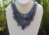 VTG Miriam Haskell Waterfall FRINGE Necklace~Blue Crystal Beads~ ORNATE Caps