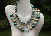 Iridescent Gold Plastic Beads Necklace Curved Link Drops Shades of Teal