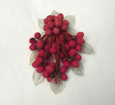 "Early Miriam Haskell 4 1/2"" RED SUGAR GLASS BERRIES DANGLY PIN BROOCH LEAVES"