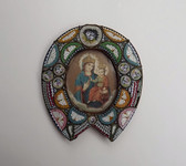 ANTIQUE ITALIAN MICRO MOSAIC MINIATURE PHOTO FRAME BRASS HORSESHOE RELIGIOUS