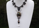 Enamel Beetle Necklace, Art Glass, Venetion Wedding Cake & Poured Glass Beads
