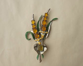 1930's ART DECO CORO Exotic Flower Bouquet PIN Enamel  Pin Garden Brooch Wedding