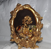 VINTAGE RHINESTONE FRAMED JEWELRY ART~GOLD CHERUB GILDED ROSES~ellen original
