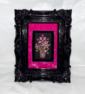 Vintage Framed Rhinestone Art PINK RHINESTONES Sparkling Mother's Day Flowers