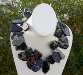 Huge BLACK JASPER SLAB Statement NECKLACE with ANTIQUE Amethyst Adornment