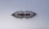 Art Deco Rhinestone Jewels  Duette Style Pin Channel Set Baguettes