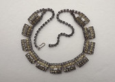 JULIANA for HOBE' SMOKY & PALE YELLOW RHINESTONES NECKLACE~OLD COSTUME JEWELRY