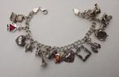Vintage Sterling Silver Charm Bracelet ELEPHANT Turtle Lobster