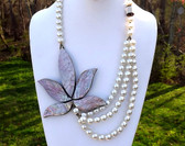 Huge Abalone Paua Shell Swag Necklace Big Leaf Pearl Beads Hawaii Beach Couture