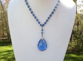 Art Deco Blue Faceted Glass Bead Lavalier Necklace with Clear Rondell Beads