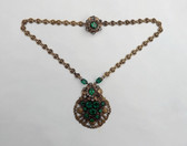 Vintage Czech Necklace Emerald Green Glass Stones Brass Metal Smoky Rhinestones